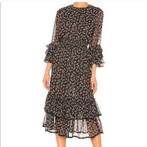 NWT Misa Gordana Black Ruffle Midi Dress L